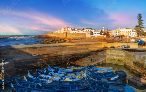Papiers peints Maroc Fishing port and Essaouira town at the sunset time, Morocco