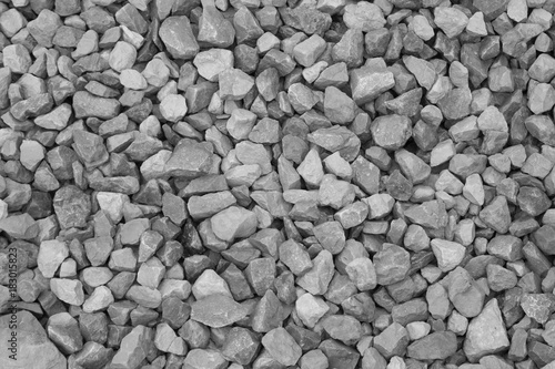Poster Stenen Gravel stone texture background, black and white.