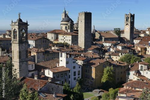 Poster Cappuccino Bergamo - panorama dalla Rocca