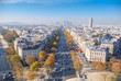 Aerial view of Champs Elysees with view of the Defense, Paris, France