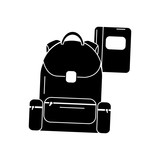 schoolbag with notebook supplies education with zippers vector illustration black image - 183017493