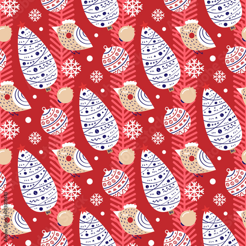 Christmas seamless pattern with image of Christmas tree and birds