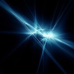Light blue fractal stars on a black