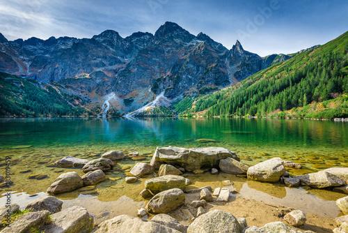 Poster Nachtblauw Green water lake Morskie Oko, Tatra Mountains, Poland