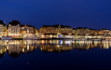 Night image from Stockholm city with Nybroviken and Strandvagen. - 183020223