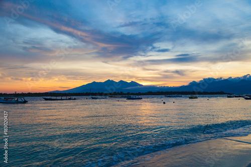 Poster Nachtblauw Beatiful sunrise at Gili Trawangan with Rinjani mount in background, Indonesia