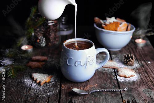 Poster Chocolade горячий шоколад с молоком и рождественскими пряниками