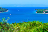 Wonderful romantic summer afternoon landscape panorama coastline Adriatic sea. Boats and yachts in harbor at magical clear transparent turquoise water. Cres island. Croatia. Europe. - 183023897