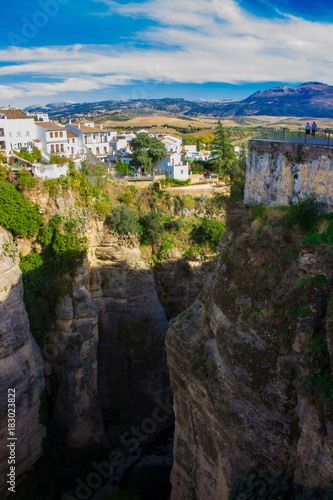 Deurstickers Grijze traf. Ronda. Beautiful views in the city of Ronda, province of the city of Malaga. Andalusia, Spain. Photo taken – 13 n ovember 2017