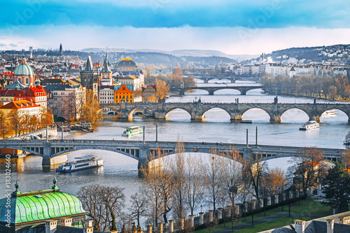 Staande foto Praag Prague. Stunning Panorama view onto the bridges vista with iconic landmark Charles bridges and old town architecture. Winter season, February.