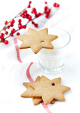 Gingerbread cookies and a Glass of Milk - 183028266
