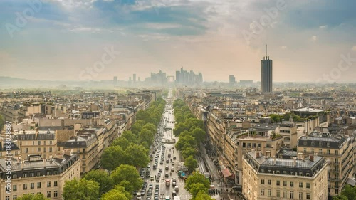 Paris city skyline timelapse at La Defrense and Champs Elysees, Paris, France 4K Time lapse