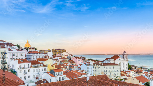 Beautiful Alfama district in Lisbon during amazing sunset - Capital Portugal