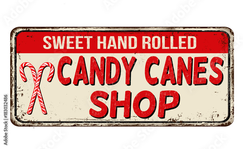 Aluminium Vintage Poster Candy cane shop vintage rusty metal sign