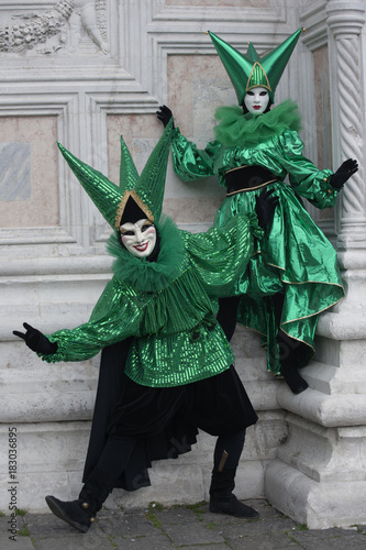 Deurstickers Venetie Venice Carnival figures in colorful costumes and mask, Venice Italy