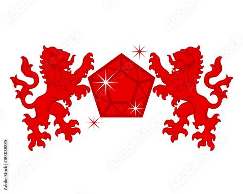 Fototapeta red diamond lion emblem