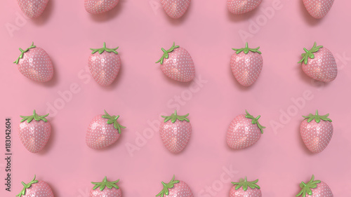 abstract strawberry pattern minimal pink background 3d rendering - 183042604