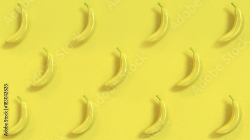 abstract banana pattern yellow background 3d rendering - 183042628