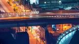 Time-lapse of Osaka highway bridge at night - 183049466