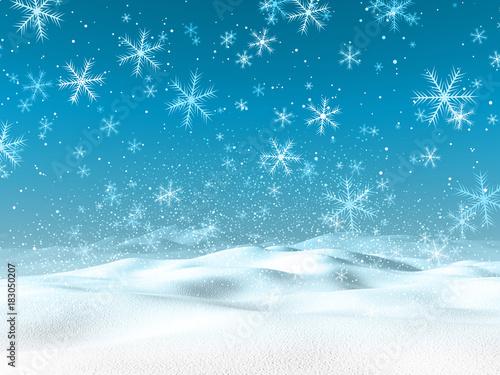 Staande foto Wit 3D winter snowy landscape