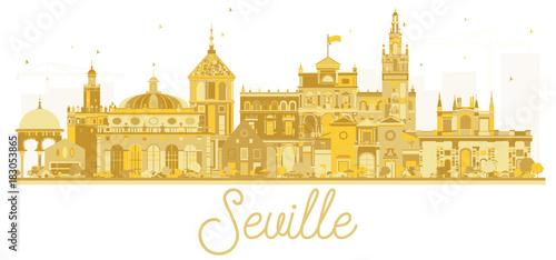 Seville Spain City skyline golden silhouette.