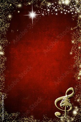 Fototapeta Christmas musical background, copyspace.