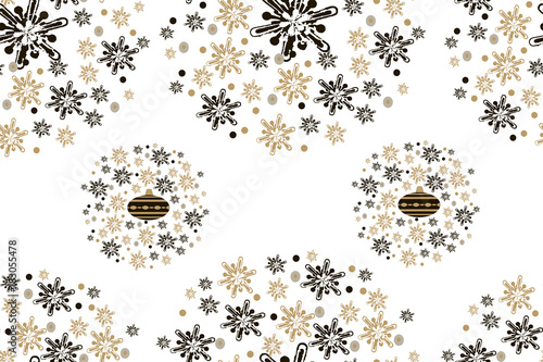 Fashion seamless christmas pattern with golden snowflakes and glass christmas balls for a stylish fabrics, prints, textile, wallpaper. Trendy grunge texture print.