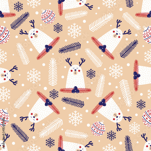 Christmas seamless pattern with deer