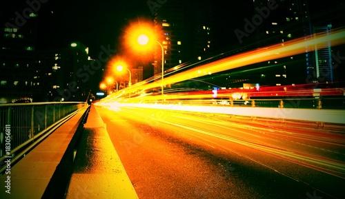 Foto op Aluminium Nacht snelweg night road