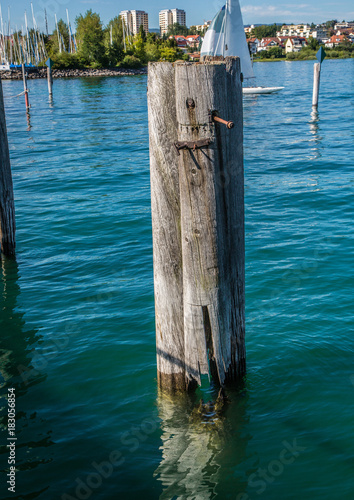 Poster Groen blauw Landscape of the Lake Constance or Bodensee in Germany