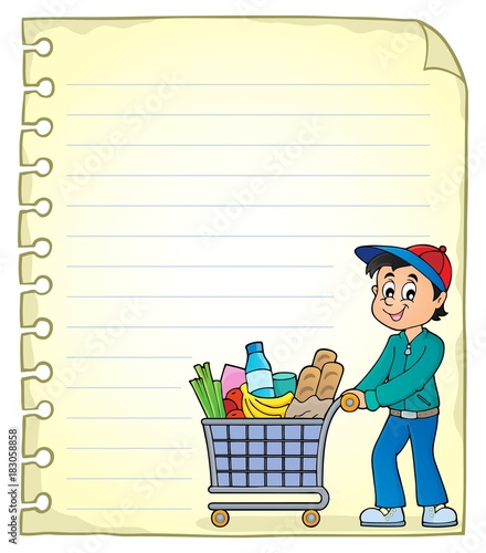 Foto op Canvas Voor kinderen Notepad page with man shopping