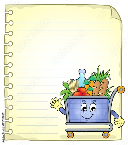 Foto op Canvas Voor kinderen Notepad page with shopping cart
