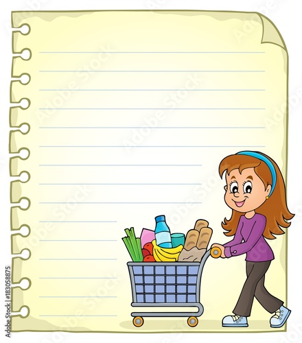 Foto op Canvas Voor kinderen Notepad page with woman shopping