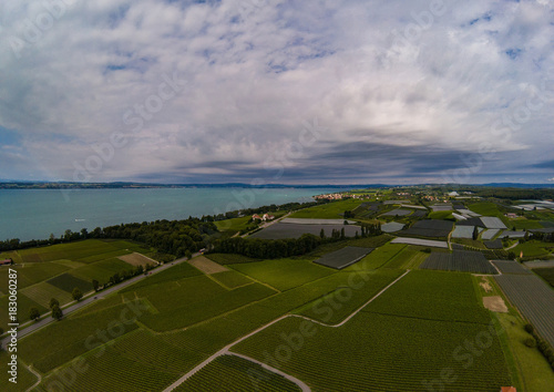 Keuken foto achterwand Donkergrijs Aerial picture of the landscape of the Lake Constance or Bodensee in Germany
