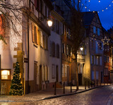 Old street  at night in winter, Colmar, France - 183061051