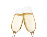 Close-up of two glasses of Champagne clinking together.  Isolated on white  background. Focus on near glass. - 183061069