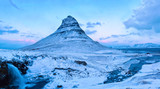 The Kirkjufell mountain in winter at twilight, Snaefellsnes, Iceland. - 183061219