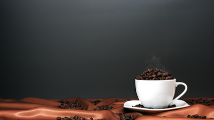 Roasted coffee beans with copy space