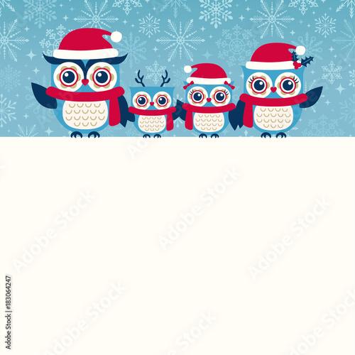Foto op Aluminium Uilen cartoon cute owls christmas seasonal illustration