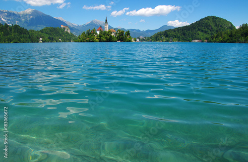 Tuinposter Blauw Landscape Lake Bled and mountains