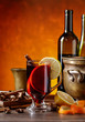 Mulled wine with spices and citrus .