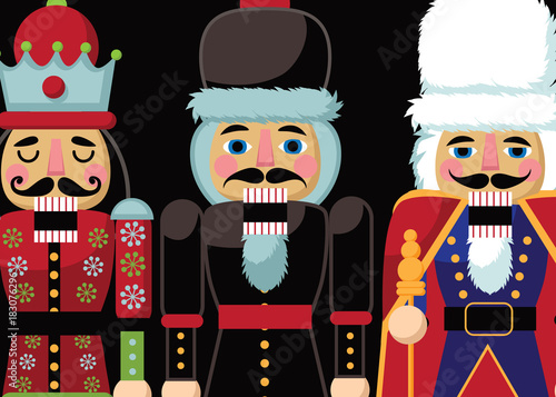 Plexiglas Vintage Poster three Christmas nutcrackers. Wooden soldier toy gift from the ballet. EPS 10 vector illustration.