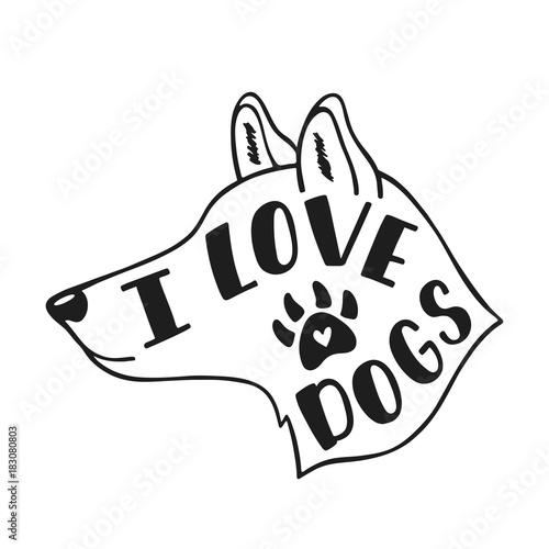kocham-psy-odrecznie-inspirujacy-cytat-o-psie-typografia-napis-projekt-czarny-i-bialy-wektorowa-ilustracja-eps-10