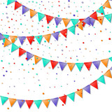 Bunting flags. Immaculate celebration card. Bright colorful holiday decorations and confetti. Bunting flags vector illustration. - 183084288