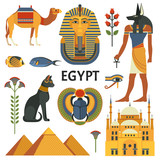 Egypt icons set. Vector collection of Egyptian culture and nature images, including pyramids, Anubis, Bastet, camel, Tutankhamen, scarab and mosque. Isolated on white. - 183091256
