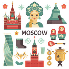 Moscow icons set. Vector collection of Russian culture and attractions images, including St. Basil's Cathedral, russian doll, Kremlin, samovar, Russian beauty in kokoshnik. Isolated on white.