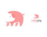 Cute Pink Pig Icon Symbol Logo - 183094800
