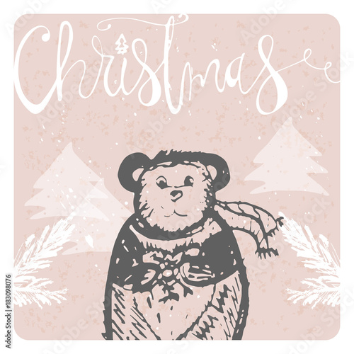 Cartoon Christmas hand drawn Lettering and abstract illustration witn nordic teddy bear. Cute Xmas background for postcards, greeting cards, invitations, nursery design, baby showers, wallpapers