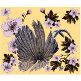 Argus bird wings peacock feathers Apple flowers sketch vector graphics color picture - 183099610