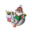 Santa Claus with inflatable Unicorn Swim ring - 183103416